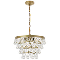 Living District LD5016D17BR Kora 5 Light 17 inch Brass Pendant Ceiling Light