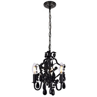 Karter 3 Light 10 inch Polished Black Pendant Ceiling Light