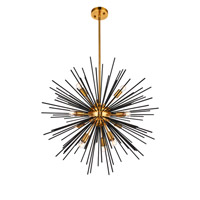 Living District LD5023 Daegan 10 Light 26 inch Light Antique Brass and Flat Black Pendant Ceiling Light