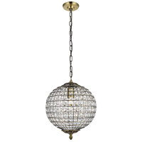 Living District LD5025 Earlene 1 Light 12 inch Antique Bronze and Clear Pendant Ceiling Light