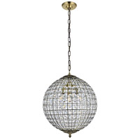 Living District LD5026 Earlene 3 Light 16 inch Antique Bronze and Clear Pendant Ceiling Light