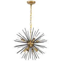 Living District LD5035D20BK Timber 8 Light 20 inch Brass and Black Pendant Ceiling Light