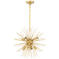 Living District LD5036D20BR Timber 8 Light 20 inch Brass Pendant Ceiling Light photo thumbnail