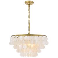 Living District LD5050D20BR Selene 4 Light 20 inch Brass Pendant Ceiling Light