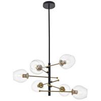 Living District LD5053D32BRB Paragon 6 Light 32 inch Matte Black and Brass Pendant Ceiling Light