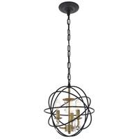 Living District LD5055D12BRB Wallace 3 Light 12 inch Matte Black and Brass Pendant Ceiling Light