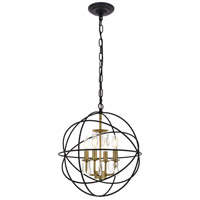 Living District LD5055D16BRB Wallace 4 Light 16 inch Matte Black and Brass Pendant Ceiling Light