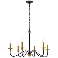 Living District LD5056D30BRB Rohan 6 Light 30 inch Brass and Black Chandelier Ceiling Light