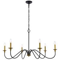Living District LD5056D42BRB Rohan 6 Light 42 inch Brass and Black Chandelier Ceiling Light