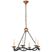 Misha 6 Light 29 inch Black and Gold Chandelier Ceiling Light