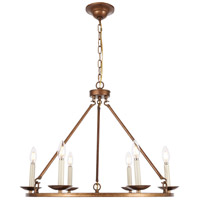 Living District LD6010D26G Maine 6 Light 26 inch Vintage Gold Chandelier Ceiling Light