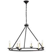 Maine 6 Light 32 inch Black Chandelier Ceiling Light