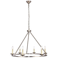 Maine 6 Light 32 inch Burnished Nickel Chandelier Ceiling Light