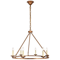 Maine 6 Light 32 inch Vintage Gold Chandelier Ceiling Light