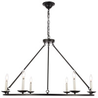 Living District LD6010D36BK Maine 6 Light 36 inch Black Chandelier Ceiling Light