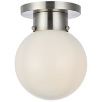 Living District LD6016 Gael 1 Light 8 inch Burnished Nickel and White Flush Mount Ceiling Light