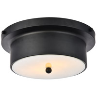 Living District LD6021 Hamlin 2 Light 12 inch Flat Black and White Flush Mount Ceiling Light