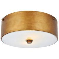 Living District LD6022 Hazen 2 Light 12 inch Vintage Gold and White Flush Mount Ceiling Light