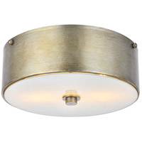 Living District LD6023 Hazen 2 Light 12 inch Vintage Silver and White Flush Mount Ceiling Light