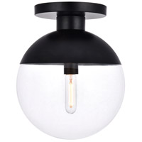 Living District LD6057BK Eclipse 1 Light 12 inch Black Flush Mount Ceiling Light