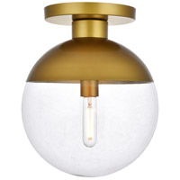 Living District LD6061BR Eclipse 1 Light 12 inch Brass Flush Mount Ceiling Light