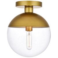 Living District LD6067BR Eclipse 1 Light 10 inch Brass Flush Mount Ceiling Light