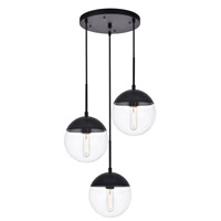 Living District LD6069BK Eclipse 3 Light 18 inch Black Pendant Ceiling Light