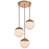 Living District LD6072BR Eclipse 3 Light 18 inch Brass Pendant Ceiling Light