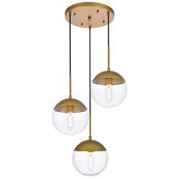 Living District LD6073BR Eclipse 3 Light 18 inch Brass Pendant Ceiling Light