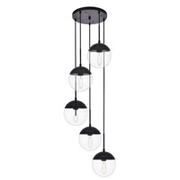 Living District LD6075BK Eclipse 5 Light 18 inch Black Pendant Ceiling Light