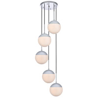 Living District LD6076C Eclipse 5 Light 18 inch Chrome Pendant Ceiling Light