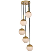 Living District LD6078BR Eclipse 5 Light 18 inch Brass Pendant Ceiling Light