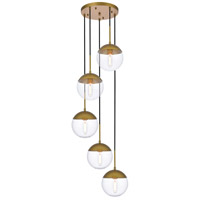 Living District LD6079BR Eclipse 5 Light 18 inch Brass Pendant Ceiling Light