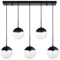 Living District LD6081BK Eclipse 5 Light 8 inch Black Pendant Ceiling Light