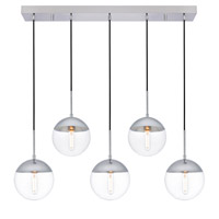 Living District LD6083C Eclipse 5 Light 8 inch Chrome Pendant Ceiling Light