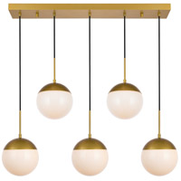 Living District LD6084BR Eclipse 5 Light 8 inch Brass Pendant Ceiling Light