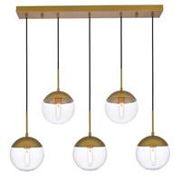 Living District LD6085BR Eclipse 5 Light 8 inch Brass Pendant Ceiling Light