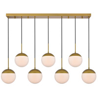 Living District LD6090BR Eclipse 7 Light 8 inch Brass Pendant Ceiling Light