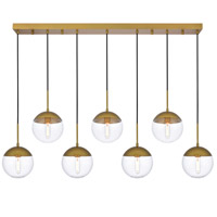 Living District LD6091BR Eclipse 7 Light 8 inch Brass Pendant Ceiling Light