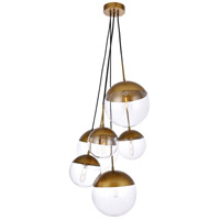 Living District LD6097BR Eclipse 6 Light 28 inch Brass Pendant Ceiling Light