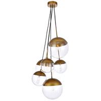 Living District LD6097BR Eclipse 6 Light 28 inch Brass Pendant Ceiling Light