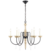 Living District LD6101D30WD Porter 6 Light 30 inch Weathered Dove and Black Chandelier Ceiling Light