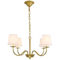 Living District LD6103D25BR Eclipse 4 Light 25 inch Brass Chandelier Ceiling Light