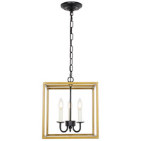 Living District LD6105D12BRBK Eclipse 3 Light 12 inch Brass and Black Pendant Ceiling Light
