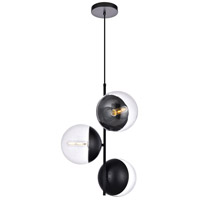 Living District LD6123BK Eclipse 3 Light 18 inch Black Pendant Ceiling Light photo thumbnail