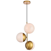 Living District LD6126BR Eclipse 3 Light 18 inch Brass Pendant Ceiling Light