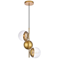 Living District LD6127BR Eclipse 3 Light 18 inch Brass Pendant Ceiling Light