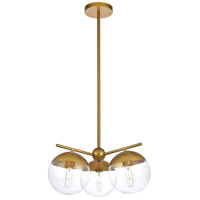 Living District LD6133BR Eclipse 3 Light 21 inch Brass Pendant Ceiling Light