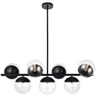 Living District LD6135BK Eclipse 7 Light 18 inch Black Pendant Ceiling Light