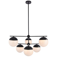 Living District LD6140BK Eclipse 6 Light 36 inch Black Pendant Ceiling Light
